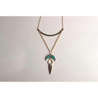 Turquoise stone embedded stylish golden designer neckpiece