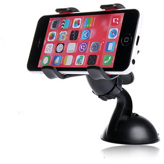 Universal 360 Degree Rotating Dual Clip Car Mount Mobile Holder Windshield Stand