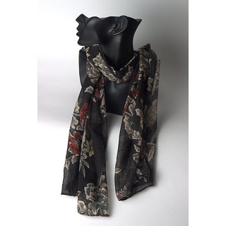 Floral printed netted black scarf
