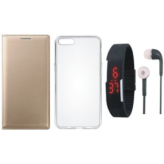 Oppo F7 Leather Flip Cover with Silicon Back Cover, Digital Watch and Earphones
