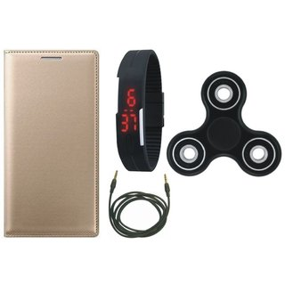 Oppo F7 Leather Flip Cover with Spinner, Digital Watch and AUX Cable