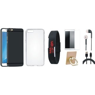 Oppo F7 Silicon Anti Slip Back Cover with Ring Stand Holder, Free Digital LED Watch, Tempered Glass, Earphones and USB Cable