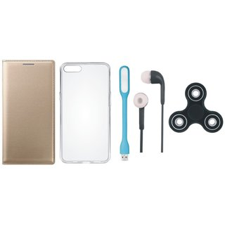 Oppo F7 Leather Flip Cover with Spinner, Silicon Back Cover, Earphones and USB LED Light