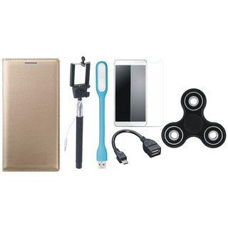 Oppo F7 Leather Flip Cover with Free Spinner, Selfie Stick, Tempered Glass, LED Light and OTG Cable