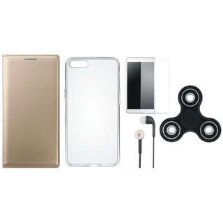 Oppo F7 Leather Flip Cover with Spinner, Silicon Back Cover, Earphones and Tempered Glass