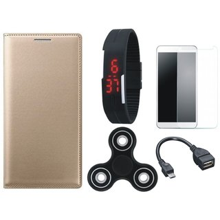 Oppo F7 Leather Flip Cover with Free Spinner, Digital LED Watch, Tempered Glass and OTG Cable