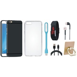Oppo F7 Silicon Anti Slip Back Cover with Ring Stand Holder, Silicon Back Cover, Digital Watch, Earphones, USB LED Light and USB Cable