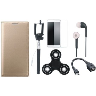 Oppo F7 Leather Flip Cover with Free Spinner, Selfie Stick, Tempered Glass, Earphones and OTG Cable