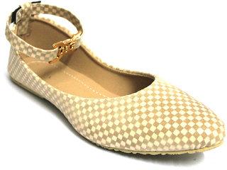 Fashion Thikana Buckle Ankle Strap Beige Checks Bellies
