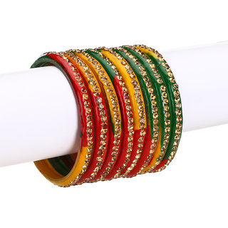 4c59ef747ebc2 Somil Multi Color Bangle Cum Kada Set Decorative With Beads And Stones  (With Safety Cum Gift Box)