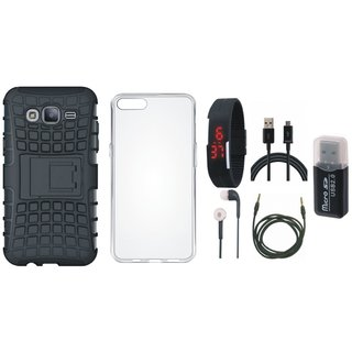 Redmi 5 Defender Tough Armour Shockproof Cover with Memory Card Reader, Silicon Back Cover, Digital Watch, Earphones, USB Cable and AUX Cable
