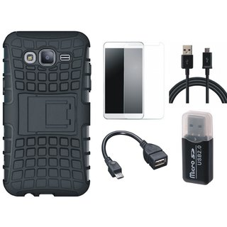 Oppo F7 Shockproof Tough Armour Defender Case with Memory Card Reader, Tempered Glass, OTG Cable and USB Cable