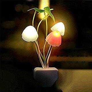 Mushroom LED Night Light Plug In Wall Lamp Bedroom Decor