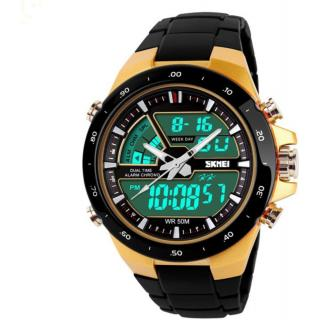 Skmei Gold Case Digital Sports Watch For Men (With Additional Green Light)