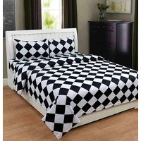 Shivaay Home Creations 150 TC Premium Cotton Chess Print Double Bedsheet With 2 Pillow Covers - Black  White
