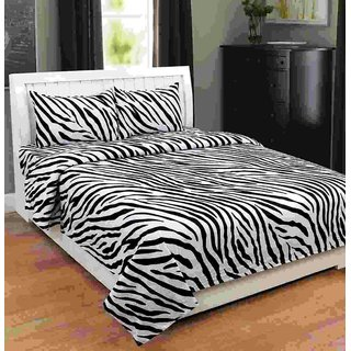 Shivaay Home Creations 150 TC Premium Cotton Zebra Print Double Bedsheet  With 2 Pillow Covers