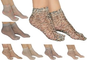 Zoom Womens Ankle Length Transparent Ultra Thin Socks Pack of 7
