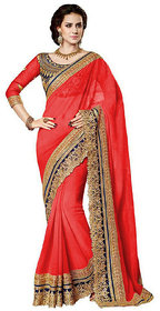 Meia  Red Georgette,Dupion Silk Embroidered Saree With Blouse