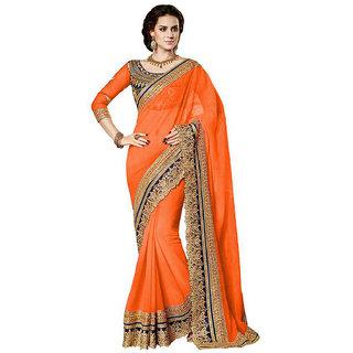 B Bella Creation Orange Georgette,Dupion Silk Embroidered Saree With Blouse