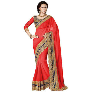 B Bella Creation Red Georgette,Dupion Silk Embroidered Saree With Blouse