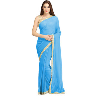 B Bella Creation Sky Blue Georgette,Brocade Plain Saree With Blouse