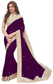 B Bella Creation Maroon Georgette,Jacquard Lace Saree With Blouse
