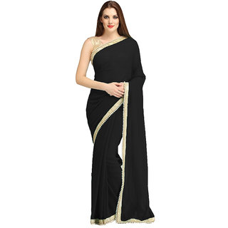 B Bella Creation Black Georgette,Brocade Plain Saree With Blouse
