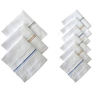 100 Cotton Striped Handkerchiefs (Pack of 12)