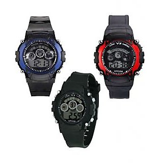 Sports Set of 3 New Collection 7light Digital Wrist Watch - For Boys, 7L3BlRB
