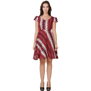 Fit  Flare Printed Red Stylish Dress By Klick2Style