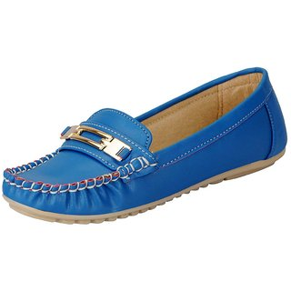 FAUSTO Blue Womens Loafers and Mocassins