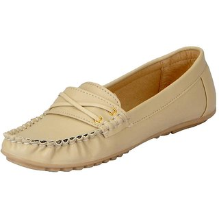 FAUSTO Cream Womens Loafers and Mocassins
