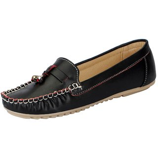FAUSTO Black Womens Loafers and Mocassins