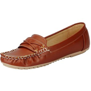 FAUSTO Tan Womens Loafers and Mocassins