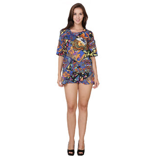 Stylish Body Con Cold Shoulder Dress Graphic Print Multi Colors by Klick2Style