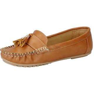 FAUSTO Beige Womens Loafers and Mocassins