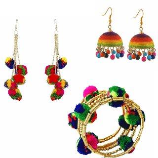 Combo of pom pom earring , jhumki ,and pom pom bracelet