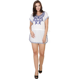 Stylish Kaftan Pure Cotton Cambric Dress with Embroidery
