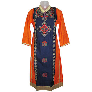 Multicolors Orange Blue Rayon Embrodered Semi-Stitched Straight Kurti