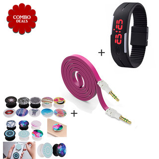 Combo of PopSocket Stand Flat Aux Cable K3 Silicone Watch - Assorted Color