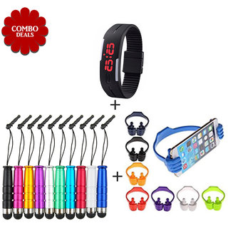 Combo of Mini Touch Screen Pen K3 Silicone Watch Ok Stand - Assorted Color