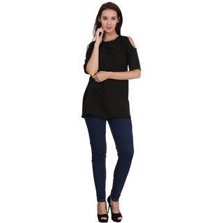 Klick2Style Cold Shoulder Tunic Top Black