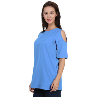 Klick2Style Cold Shoulder Tunic Top Sky Color