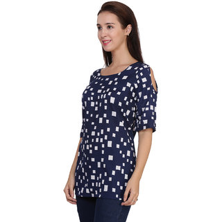 Klick2Style Cold Shoulder printed Tunic Top Blue with white box