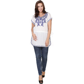 Klick2Style Cotton Cambric Embroidery Kaftan Tunic White