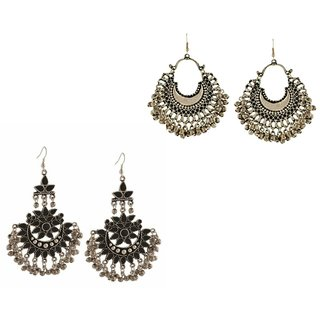 Minha Oxidised Black & Grey Alloy Chandbali for Women-Combo of 2