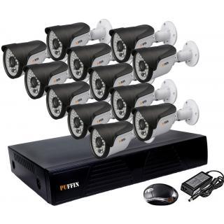 HIGH RESOLUTION HD CCVT 720P NIGHT VISION WATERPROOF 1000TVL 3.6MM 12 PCS BULLET CAMERA 16-CH DVR 1 PCS