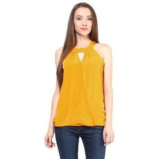 Klick2style Stylish Halter Neck Top Mustard