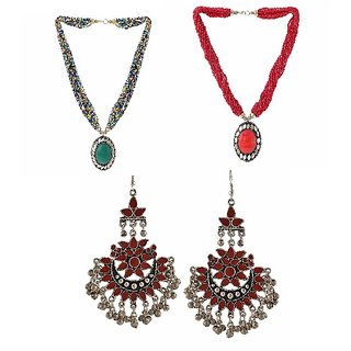 Combo of 2 oxidised  beads harram necklace + oxidised earring