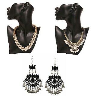 Combo of 2 oxidised  beads  necklace + oxidised earring
